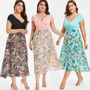 Damen Chiffon Sommerkleid Cocktailkleid Kleid Mollige Ubergrosse Partykleid Bc518 Ebay