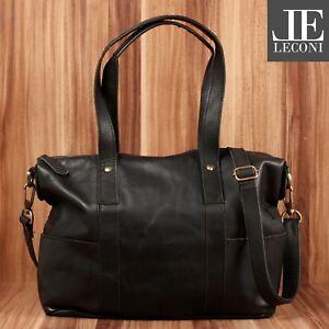 Details zu LECONI Shopper Retro Handtasche Echtleder Damen Henkeltasche schwarz LE0034 wax