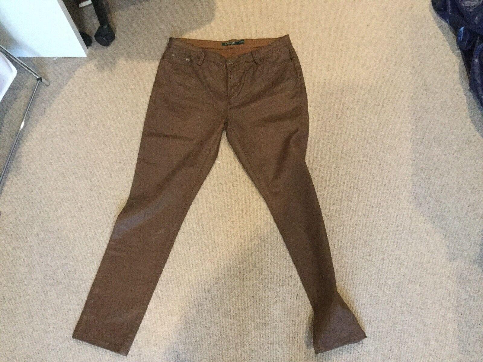 Lauren Ralph Lauren Brown Coated straight leg Jeans UK14 US10 perfect condition