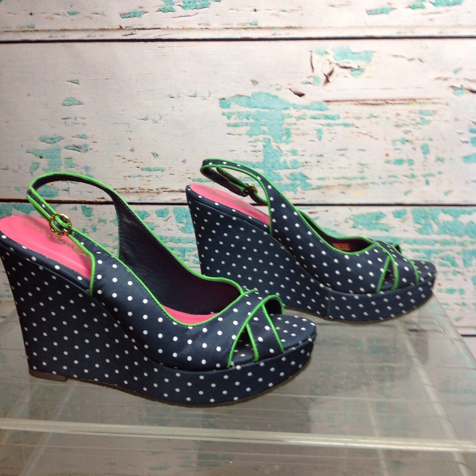 Lilly Lilly Lilly Pulitzer Navy Polka Dot Peep Toe Wedge Sandals 7.5 Heels Sling Back Shoes 4a68ca