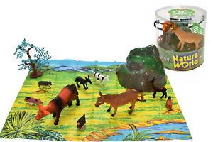 Action Figures Tireless Animaux De La Ferme 18pcs Tube Animals & Dinosaurs ty663 Tapis Sol Clôtures Arbres Vaches Porcs Coq