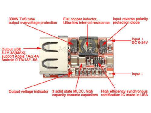 DC 5V Converter Buck Step Down 6V-24V 12V to 5V 3A USB Charger Car Power Supply