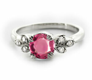 925-Sterling-Silver-Ring-Red-Rhodolite-Garnet-Natural-Solitaire-Size-4-11