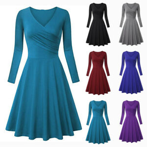 Women-V-neck-Long-Sleeve-High-Waist-Solid-Slim-Fit-Pleated-A-Line-Evening-Dress