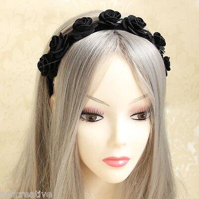 Women Girls Gothic Handmade Flower Rose Elastic Hair Band Headband Vintage Style