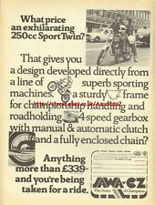 Jawa CZ 250cc Sport Twin Motorcycle 1976 Mag Advert #1836