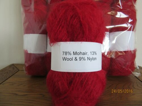 Mohair Wool Yarn 50 g boule rouge cerise 78/% mohair Double Tricot 2 Presque comme neuf