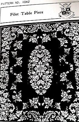 1042 Antique Elegant FILET TABLECLOTH Pattern to Crochet Reproduction 39 x 45