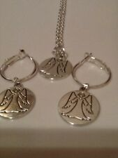 Guardian angel hoop earrings and necklace set inscribed on the reverse