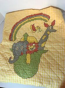 Completed-Cross-Stitch-Baby-Quilt-Noah-039-s-Ark-Yellow-Rainbow-Animals