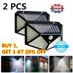 100LED-Energia-Solare-Sensore-Movimento-PIR-Parete-Luci-Esterno-Giardino-Lampade