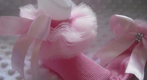 Filles Tutu froncé Chaussettes En Divers Couleurs Taille 3-5 1//2