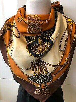 ea8b4bf4ca CLAUDE BOISSY PARIS Silk Twill Crests & Braid Foulard Scarf 78x78cm  Handroll Hem   eBay