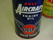 GRAPHIC * RARE FULL 1940's era Vintage GULF AIRCRAFT ENGINE OIL Old 1 qt Can