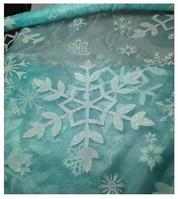 """150cm Sold by the Metre Disneys Frozen Blue Silver Glitter Snowflake Voile 59"""""""