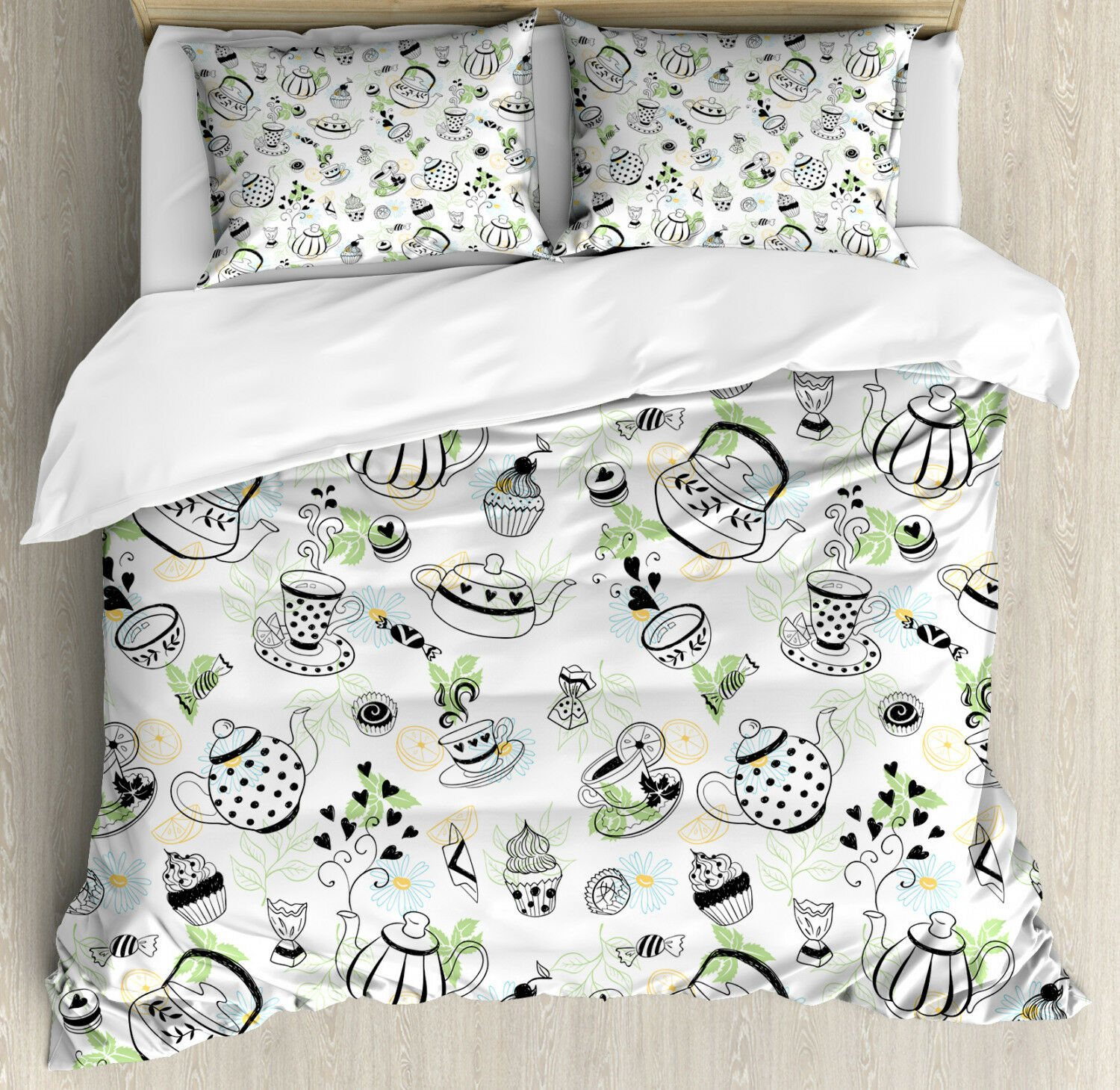 Tea Party Duvet Cover Set with Pillow Shams Doodle Sweet Hearts Print