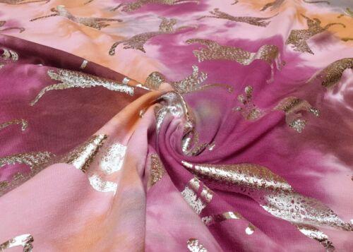 Baumwolljersey Baumwolle Jersey Stoff Batik bedruckt silber Leopard Bekleidung