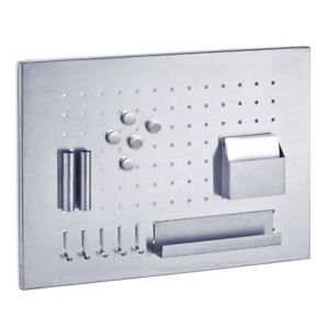 Magnetic-Stainless-Steel-Memo-Board-50-x-35cm-with-Pen-Holder-Tray-Hooks-etc