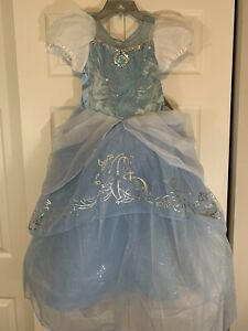 DISNEY Cinderella Princess Dress Costume Size 7/8 Blue, White Silver Sparkle New