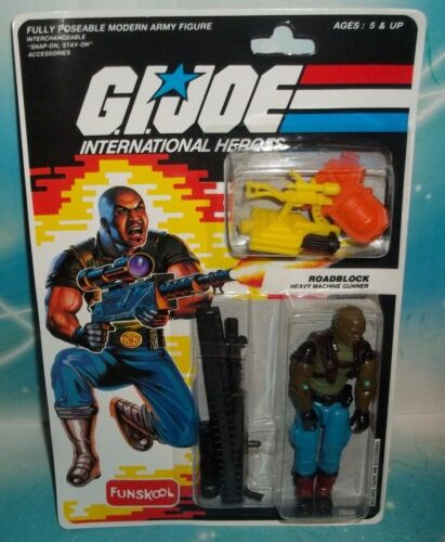 G I Gi Joe internatnl Heavy Machine Gunner Roadblock Figure Comme neuf on Card russe Funskool