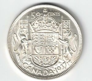 CANADA-1937-50-CENTS-HALF-DOLLAR-KING-GEORGE-VI-CANADIAN-800-SILVER-COIN