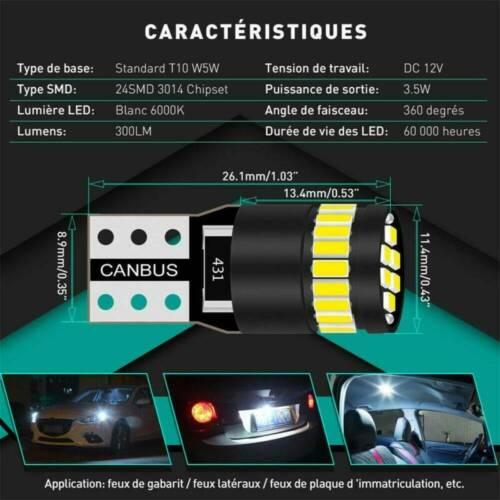 2Pcs T10 501 194 W5W SMD 24 LED Car CANBUS Error Free Wedge White Light Bulbs A+
