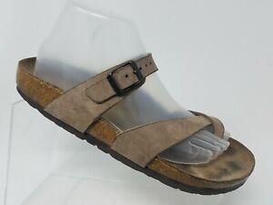 Birkenstock-Tabora-Womens-Toe-Ring-Sandal-Size-9-40-Brown-Leather-Slip-On-Shoe