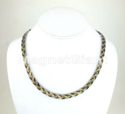 Gold Silver and Black Women magnetic stainless steel 316L links necklace