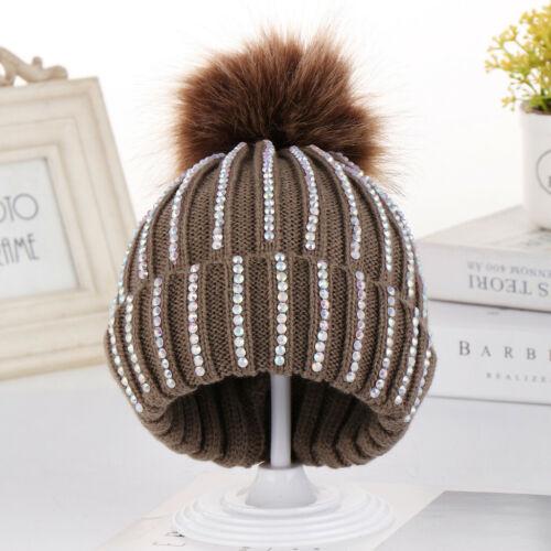 Toddler Kids Baby Knitting Wool Hemming Hat Winter Warm Hiarball Fur Ball Cap