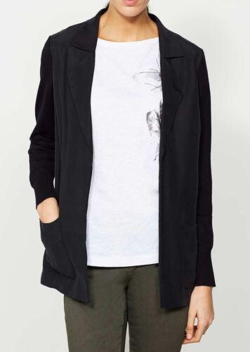 Womens Cardigan Knitted uk 10 Boyfriend Front Black Cupro Velvet Jacket Mint 6BAxpp