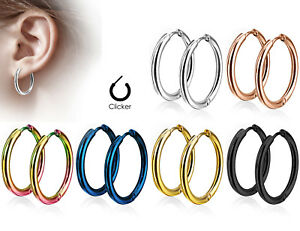PAIR-of-316L-Stainless-Steel-Hinge-Action-20g-Seamless-Hoop-Earrings