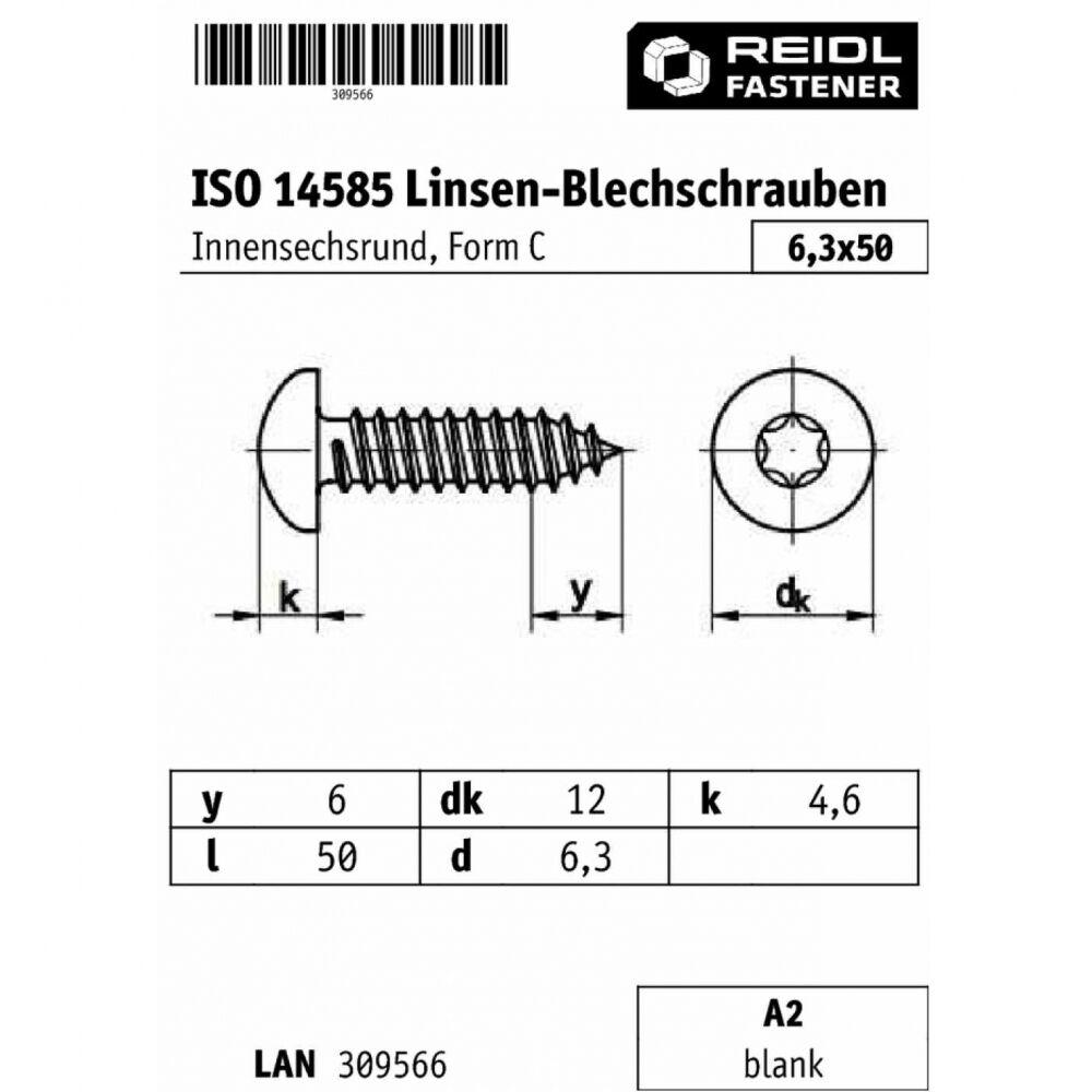 250x ISO 14585 Linsen-Blechschr. mit Innensechsrund. Form C 6.3 x x x 50 A2 blank | Elegantes und robustes Menü  37150e