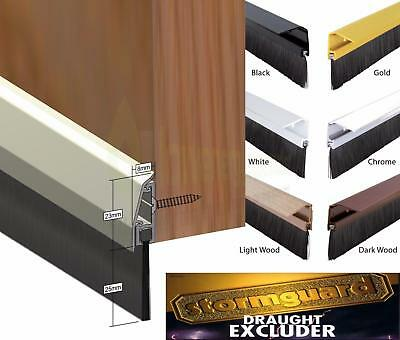 Stormguard Concealed Fix Brush Bottom Door Seal Excluder SILVER GOLD WHITE BLACK