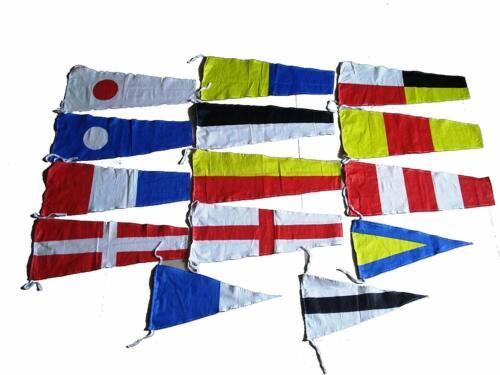 "Total 14 Flags Marine CODE Naval Signal Pennants 20/"" X 8.5/"""