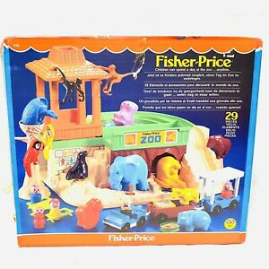 VINTAGE-anni-1980-FISHER-PRICE-IN-SCATOLA-Little-People-Zoo-Play-Set-MADE-IN-ENGLAND-in-buonissima