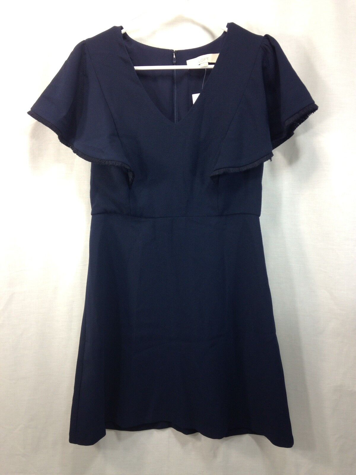 NEW Loft Dress damen Navy Blau Cocktail Formal Short Ruffle Sleeve Poly Spandex