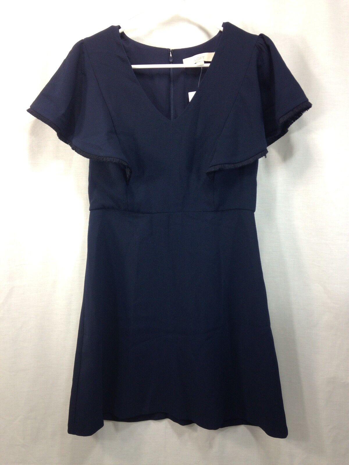 NEW Loft Dress damen Navy Blau Cocktail Formal Short Ruffle Sleeve Poly Spandex