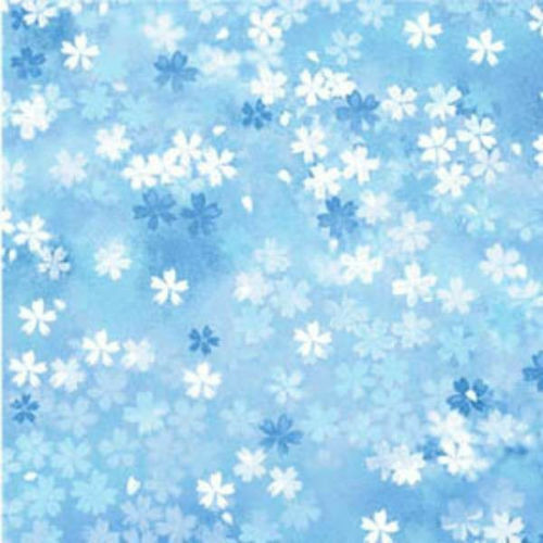 Fabri-quilt Fabric - Shimmering Bouquets - blue small floral - 100% Cotton