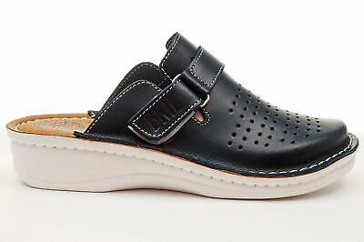 Dr Punto Rosso BRIL D145 Women Leather Slip On Clogs Mules Slippers Shoes Black