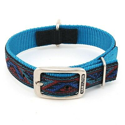 "HAMILTON ST Nylon Dog Collar, 18"" x 1"", Teal with Southwest Overlay"