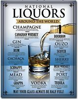 National Liquors Around The World Scotch Tequila Vodka Metal Sign