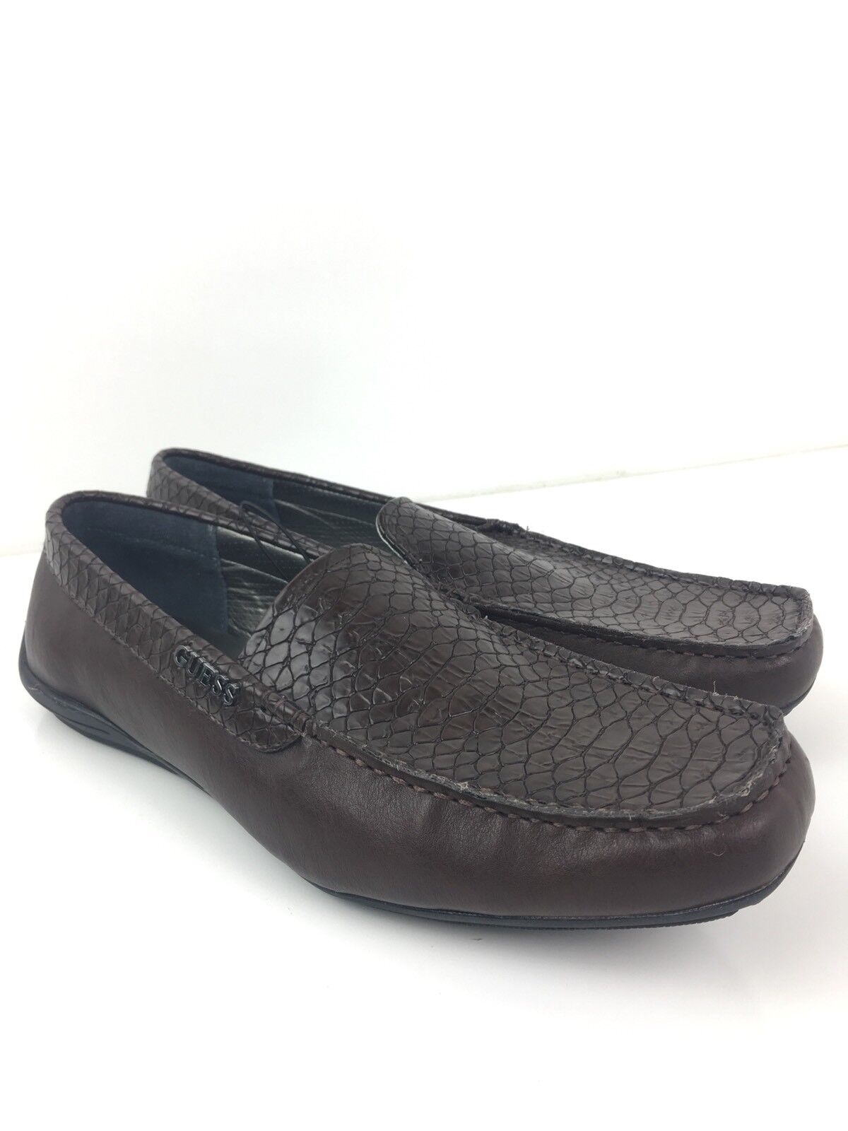 Guess Mens 10M Dark braun Snakeskin Texturot Leather Slip On Clog schuhe- NWOB-A5