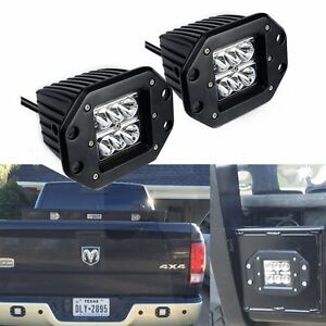 2X Dually Flush Mount LED Pods Cube Reverse Light Chevrolet Jeep ATV