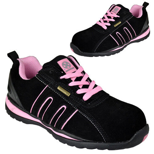 LADIES STEEL TOE CAP SAFETY TRAINERS BOOTS LIGHTWEIGHT BOOT SHOES PINK SUEDE NEW