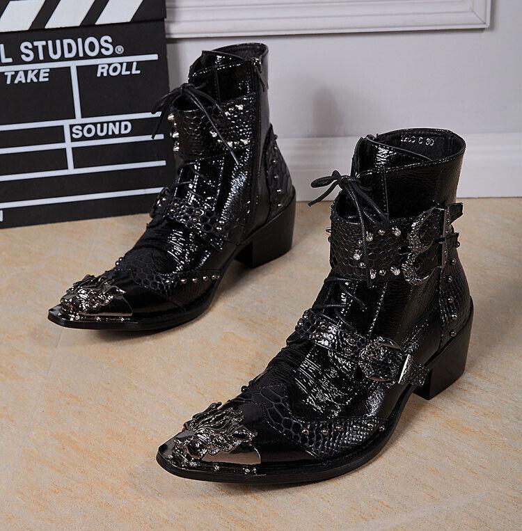 Nuevo Para hombres Cuero Real Occidental botas De Vaquero punto de metal del dedo del pie Hebilla Negro FS13