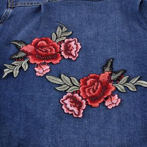2stk-Rose-AufnAher-Gestickt-Blume-Patch-nAhen-Erwachsene-Kleidung-Aufnaeherbild