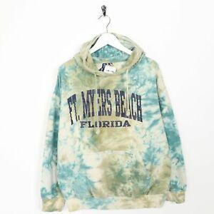 Vintage-Novelty-Graphic-Tye-Dye-Hoodie-Sweatshirt-Blue-Green-Medium-M