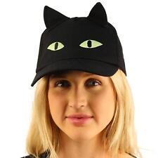 Halloween Black Cat Ears Scary Eyes Cotton Baseball Adjust Ball Cap Hat Black