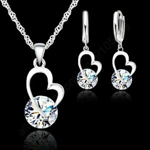 Set-925-Sterling-Silber-Ohrringe-Anhaenger-Halskette-Kubik-Zircon-Damen-Schmuck