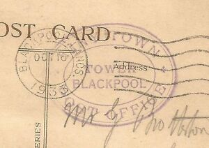 GB TINY TOWN POST OFFICE / TOWER / BLACKPOOL oval on 1933 postcard